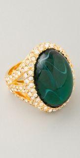 Kenneth Jay Lane Emerald & Rhinestone Cocktail Ring