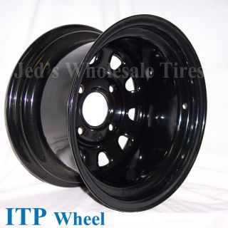 12 12x7 2 5 4 110 ITP Delta Steel Black D Window Dot Rim Wheel
