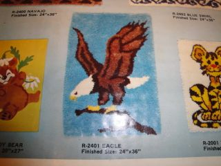 Alexander Vtg American Bald Eagle Latch Hook Rug Pattern Canvas