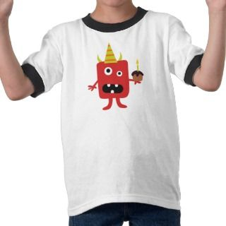 Fun scary monster wearing a hat boys t shirt