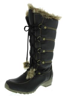 Sporto New Ivy Black Faux Fur Lace Up Waterproof Snow Boots Shoes 8 5