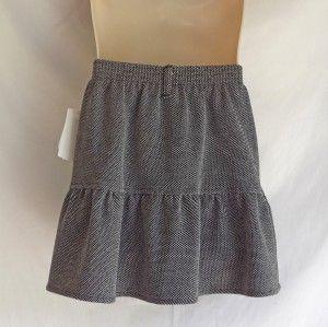 IZ Amy Byer Girls Black White Micro Checkered Print Skirt with Flowers