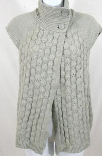 New IZOD Womens Cap Sleeve Cable Knit Sweater Gray Sz S