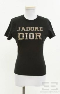 Christian Dior Black & Gold Studded Jadore Dior Embellished T Shirt