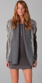 Haute Hippie Knit Rabbit Fur Jacket