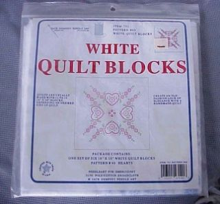 Jack Dempsey Needle Art White Quilt Blocks Item 732 Pattern 40 NIP