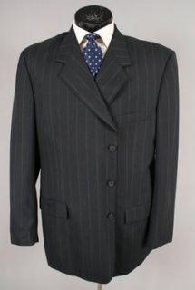 Christopher Big Mens Black Pinstripe Wool Blend Blazer Jacket 50 L