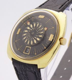 Ernest Borel Cocktail Gold Automatic Date Vintage Mens Swiss Watch Ref