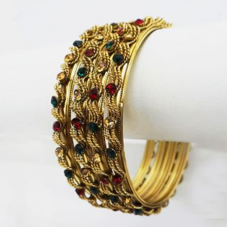 Traditional Gold CZ Kundan Bridal Bangle Set Indian Wedding Jewelry