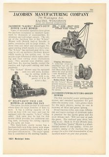 1931 Jacobsen Heavy Duty Power Lawn Mowers Print Ad