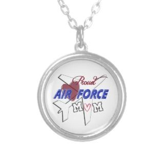 Proud Air Force Mom  Love & Airplane Personalized Necklace