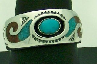 Sterling Silver Turquoise Coral Jack Whittaker Ring Size 10