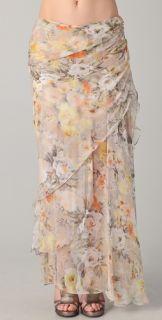Haute Hippie Shirred Floral Maxi Skirt