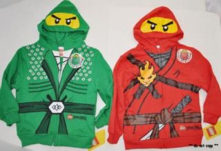 BOYS LEGO NINJAGO RED KAI GREEN LLOYD HOODY SWEAT SHIRT JACKET COSTUME