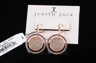 Judith Jack Rose Gold Plate 925 Sterling Marcasite Post Dangle