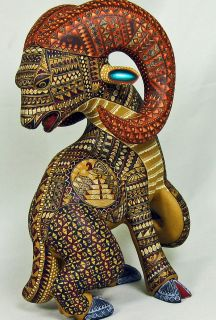 Sale Oaxacan Wood Carving RAM by Jacobo Maria Angeles of Oaxaca