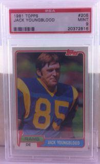 1981 Topps 205 Jack Youngblood Los Angeles Rams HOF PSA Mint 9