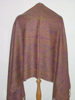 New 100 Pashmina Wool Shawl Wrap Jacquard Purple