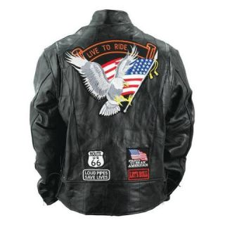 Mens Buffalo Leather Motorcycle Jacket w USA Patches New