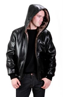United Face Mens New Black Lambskin Leather Hooded Reversible Jacket
