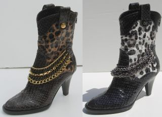 Renee Bree Womens Ladies Fashion Ankle Boots Heels Faux Snake