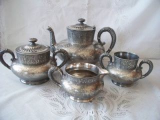 Antique Victorian Aesetic Quadruple Plate Webster Tea Set Service
