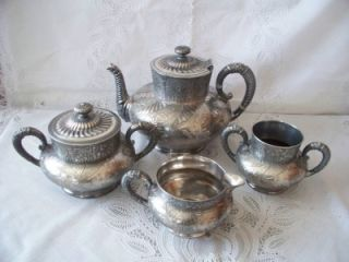 Antique Victorian Aesthetic Quadruple Plate Webster Tea Set Service