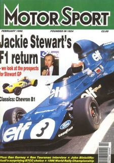 Motor Sport Feb 1996 Jackie Stewart Chevron B1 Audi