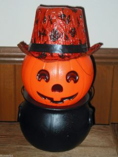 Vintage Halloween Plastic Blowmold Jack O Lantern JOL Light Lamp Hat
