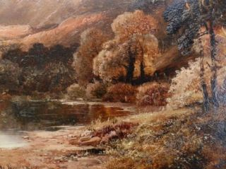 Clarence Roe (1870 1909) Original Antique Landscape Oil Painting Lake