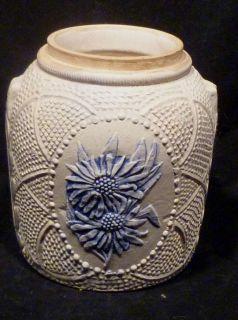 Cobalt Gray Stoneware Crock with Raised Flower Dot Design