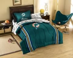 New MIAMI DOLPHINS Blanket 5Pc Twin Bed in a Bag Set NFL Applique