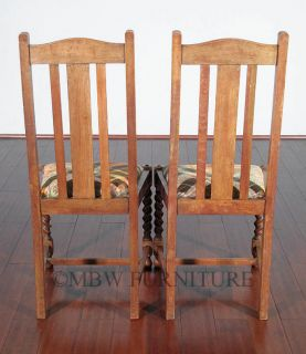 Antique English Solid Oak Jacobean Dining Side Chairs Set 4 c1920's