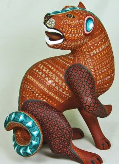 Oaxacan Wood Carving Jaguar by Jacobo and Maria Angeles Oaxaca