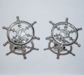 Silver SHIP Boat Steering Wheel Cufflinks Gregory James 925