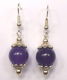 Lovely lady bridal jewelry earrings Women girl 10mm purple Jade Dangle