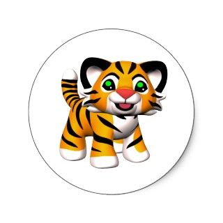 3D Cartoon Tiger Cub Stickers © 2010 Marianne Gilliand All Rights