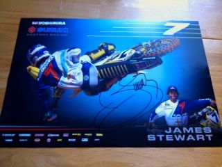 James Bubba Stewart Signed 2013 Team Suzuki Supercross Poster