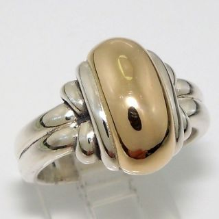 James Avery Retired Knotted Dome Sterling Silver 14K Gold Ring Size 6
