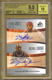 2004 05 SP GameUsed LEBRON JAMES MICHAEL JORDAN Dual ON CARD Auto /25