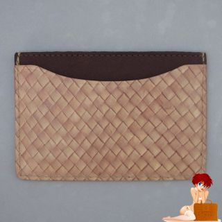 New Authentic Jack Spade Straw Weave Leather Credit Card Wallet
