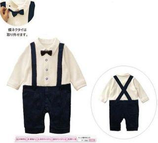 James Bond Long Sleeve Gentlemen Boy Baby Kids Romper Outfits Costume
