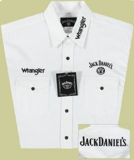 Wrangler Mens Jack Daniels Embroidered Shirt 2XL White JD Snaps
