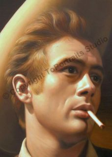 James Dean American Actor Original Canvas Oil Painting