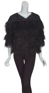 ESCADA Luxe Black Ostrich Feather Coat Jacket 36 6 New