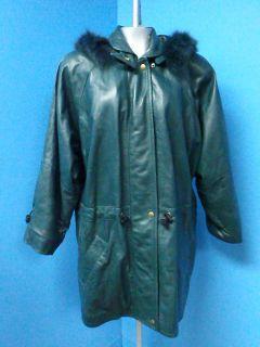 54263 JAMES JAMES FOX FUR Hood Green Parka GENUINE LEATHER Women Coat