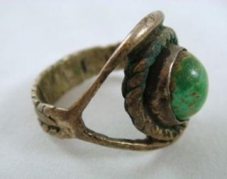 Vintage Green Turquoise Southwestern Style Sterling Silver Ring Size 8