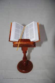 New Nice Holy Bible Full Version King James Wood Stand Miniature Book