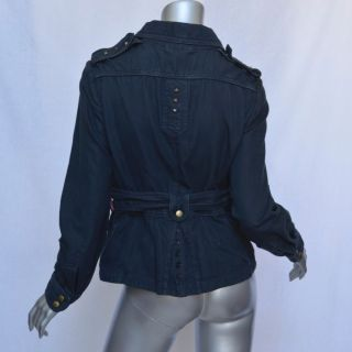 Marc Jacobs Womens Blue Short Military Wrap Jacket Cotton Studded Belt