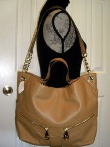 NWT $368 MICHAEL KORS Jamesport LARGE Leather CHAIN Shoulder Tote Tan